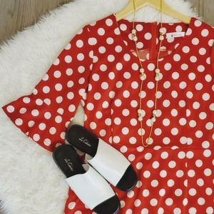 Polka-dot, red & white, flounce, zipper, party
